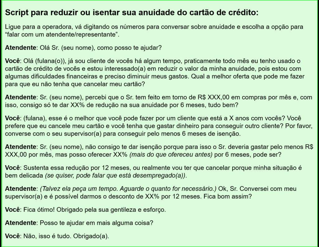 Script escrito para reduzir o quarto gasto do controle de gastos proposto neste post, que é a anuidade do cartão de crédito.