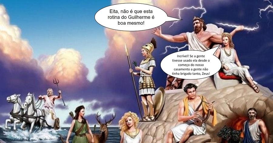 Imagem dos deuses do olimpo simbolizando uma conversa no qual eles confirmavam que para ter uma vida financeira estável é preciso seguir uma rotina de acompanhamento.